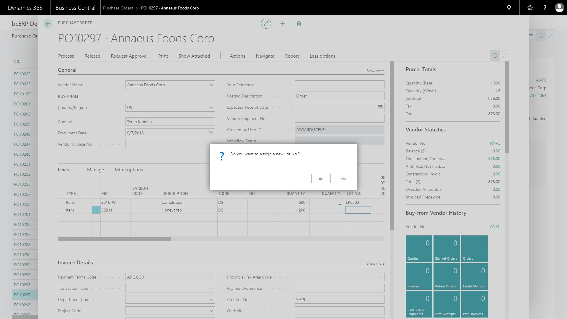 dynamics 365 lot on line feature screen shot