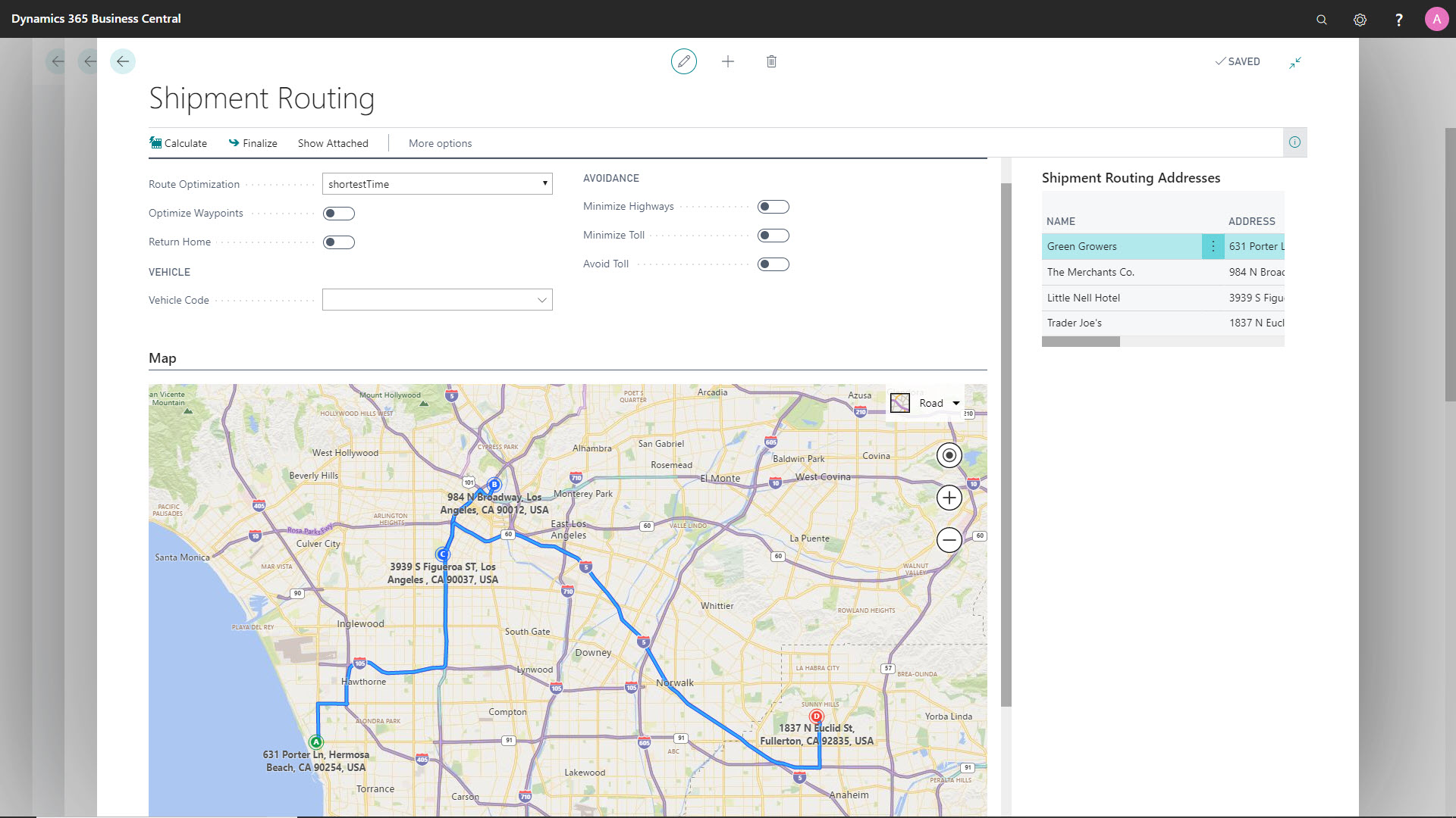 dynamics erp bcfood route planning screen shot